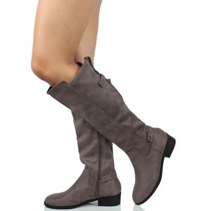 Shoes - Grey faux suede pull on tab knee high boot